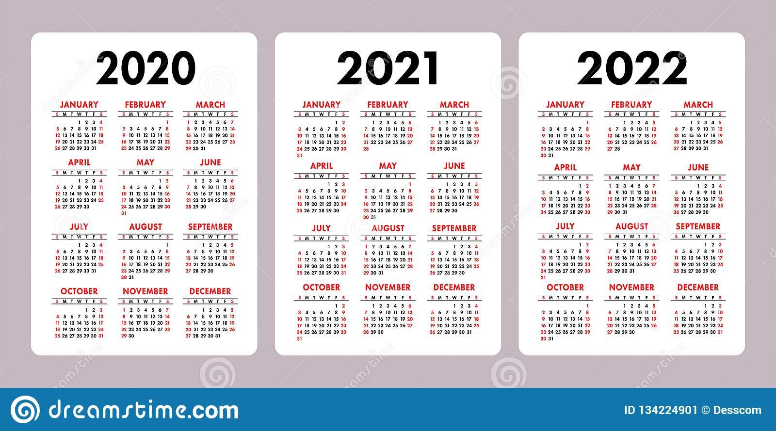 Calendar 2020 2021 2022 Years Vertical Vector Calender