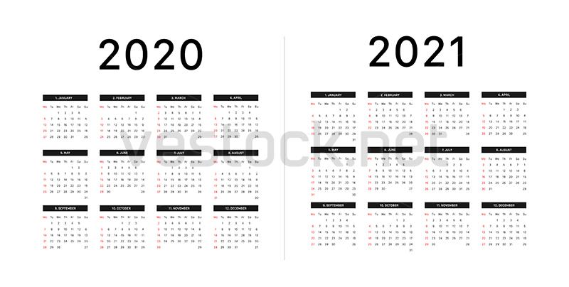 Calendar 2020 2021 Week Starts On Monday Basic Grid