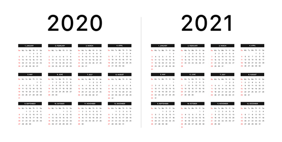 Calendar 2020 2021 Week Starts On Sunday Basic Grid