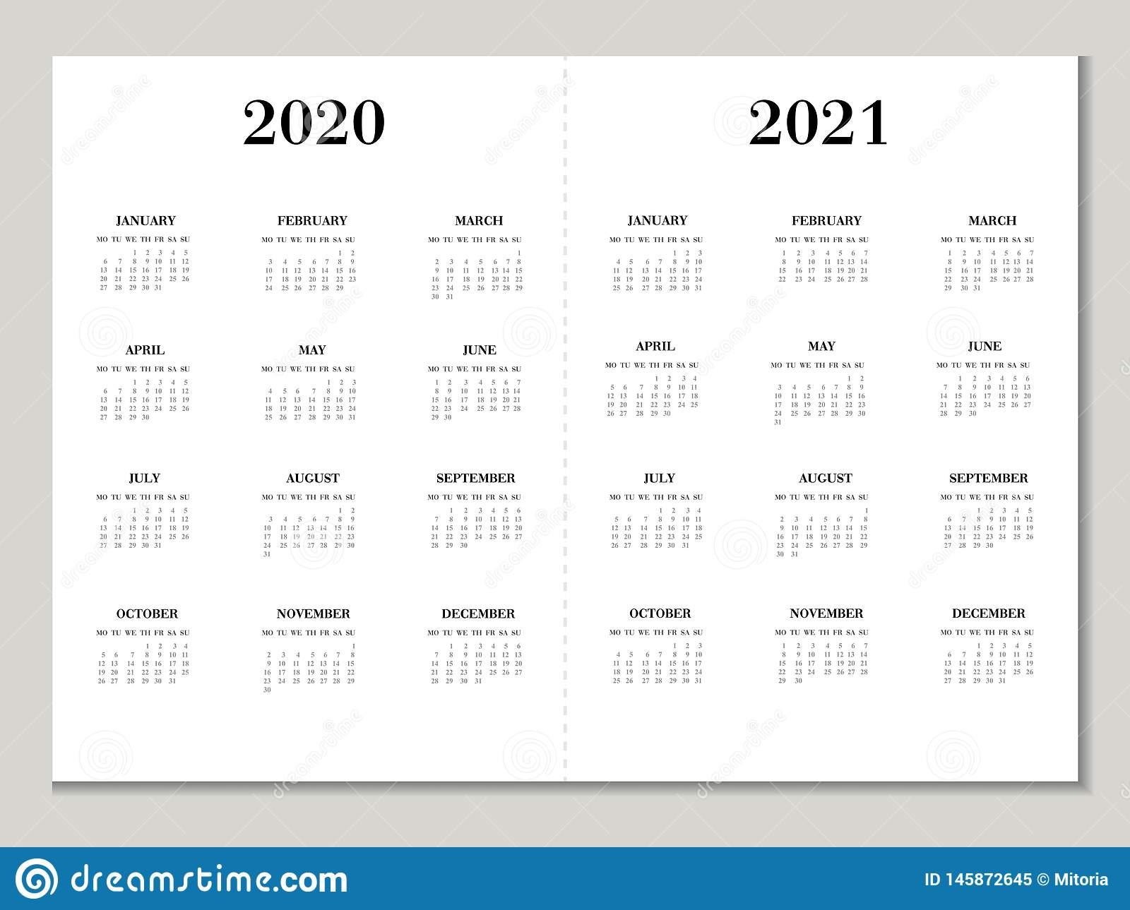 Calendar 2020 2021 Year Vector Calendar Template In Black