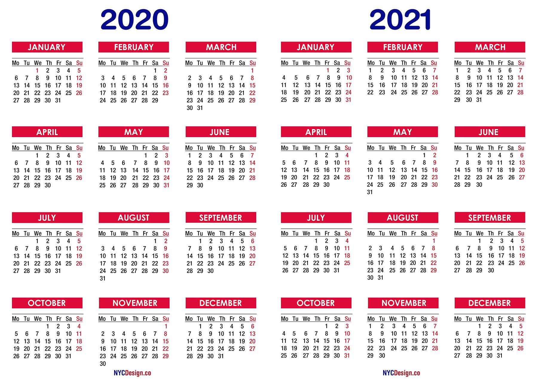 Calendar 2020 And 2021 Calendar Ideas Design Creative