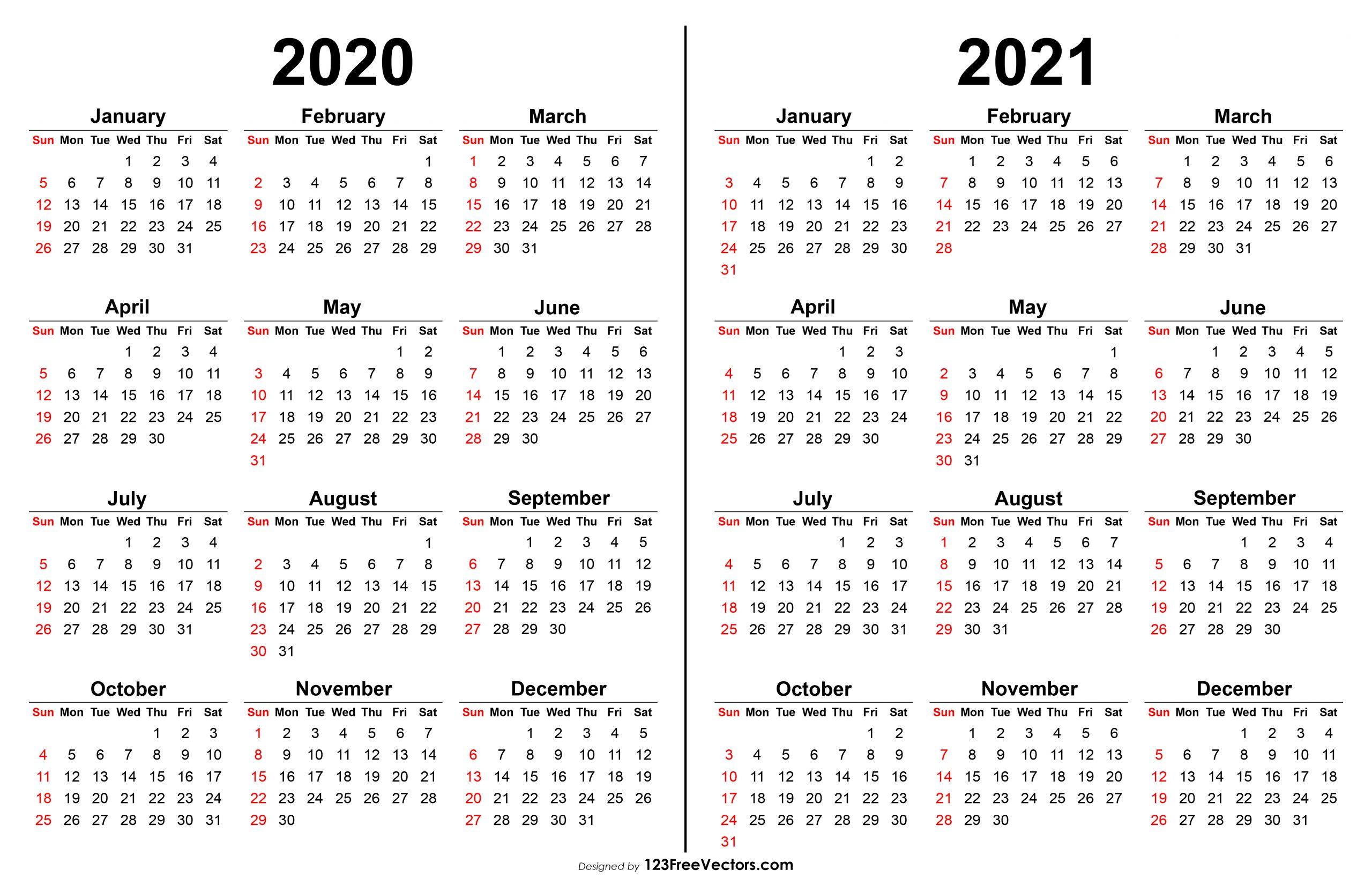 Calendar 2020 To 2021 Calendar Printables Free Templates