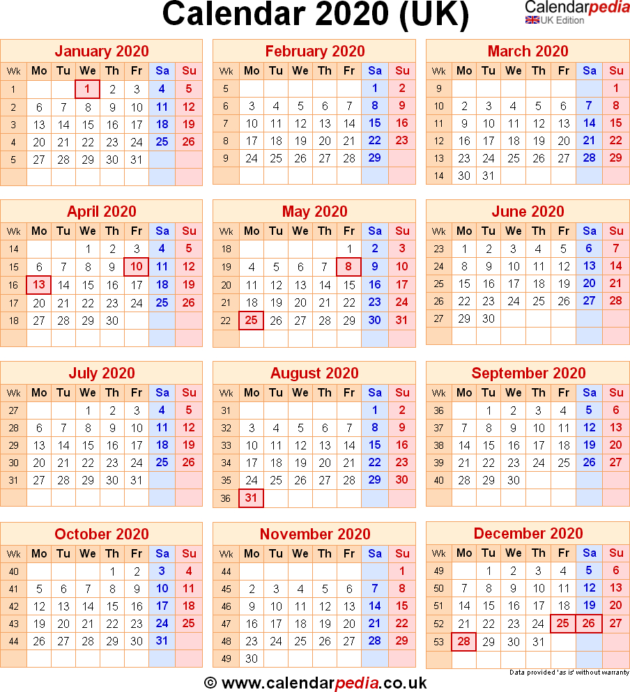 Calendar 2020 Uk With Bank Holidays Excel Pdf Word Templates
