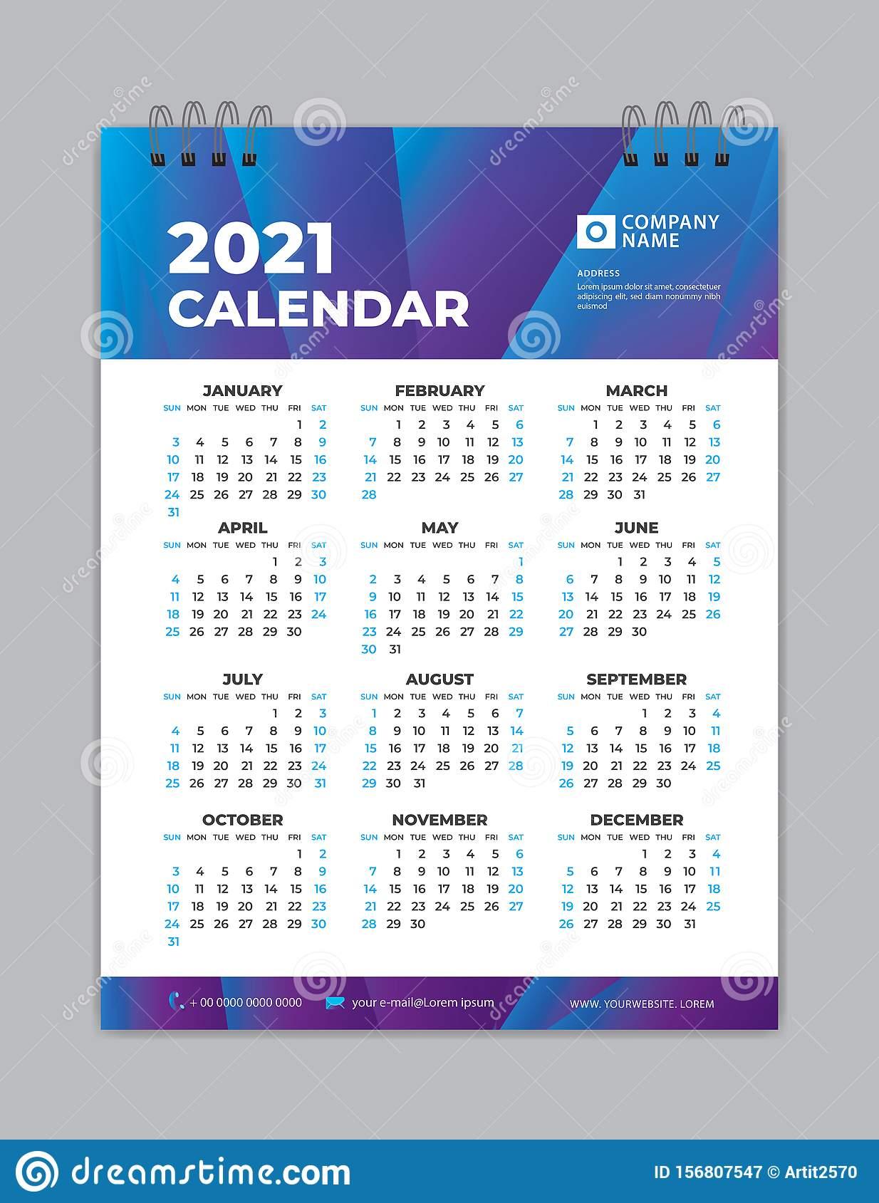 Calendar 2021 Template Layout Poster Wall Calendar 2021