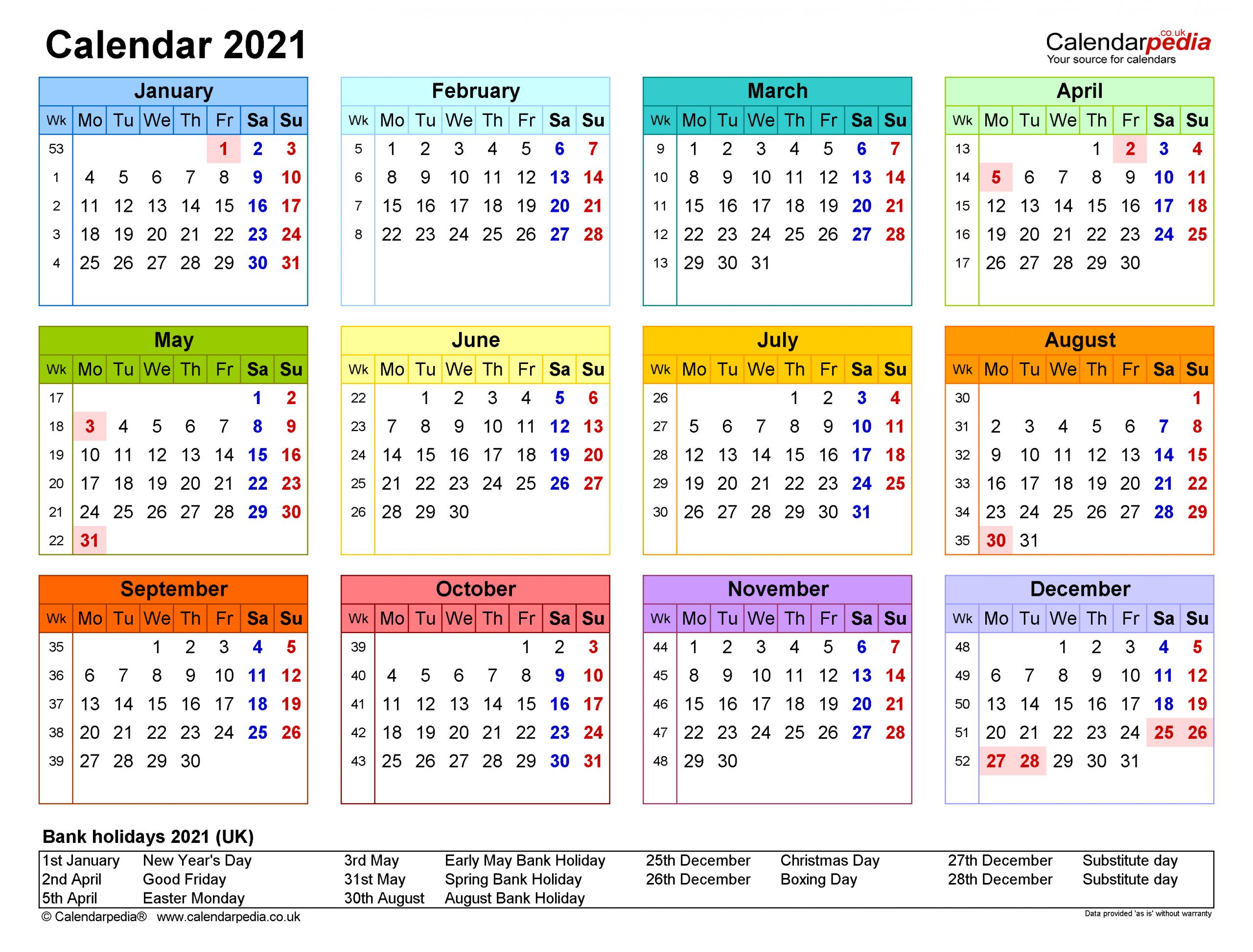 Calendar 2021 Uk Free Printable Microsoft Word Templates 2