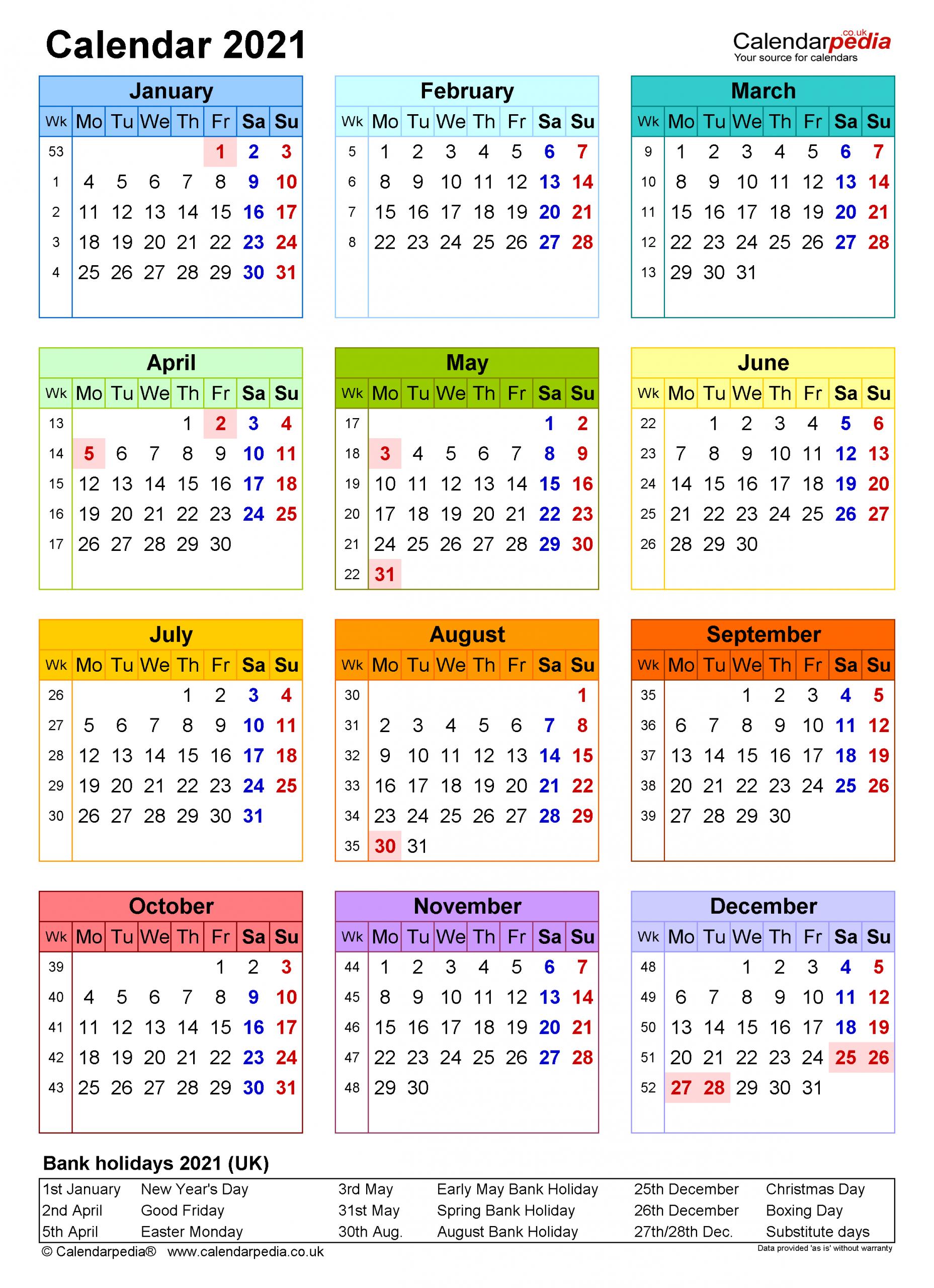 Calendar 2021 Uk Free Printable Microsoft Word Templates