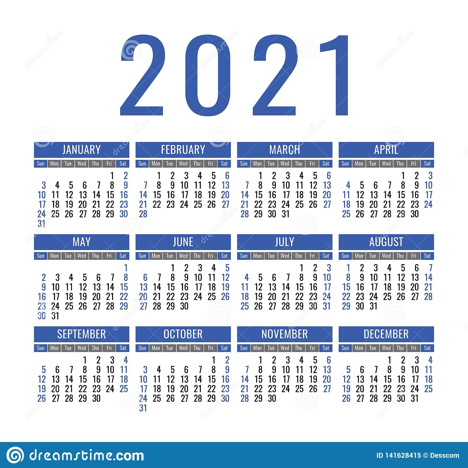 Calendar 2021 Year Vector Pocket Or Wall Calender