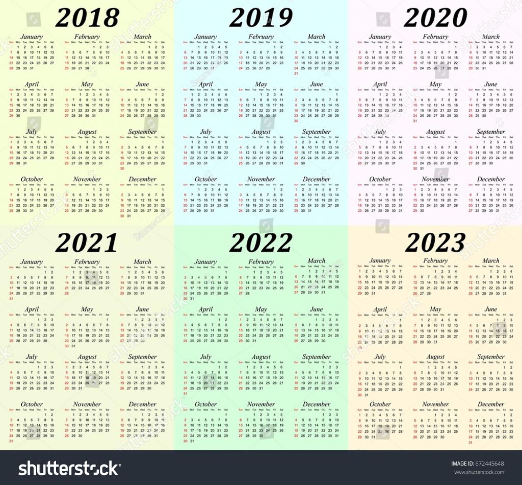 Calendar 5 Years Calendar Template 2020