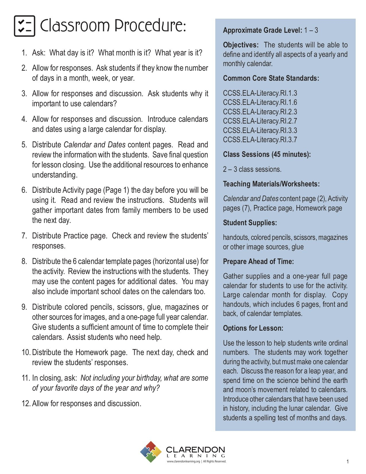 Calendar And Dates Lesson Plan Clarendon Learning