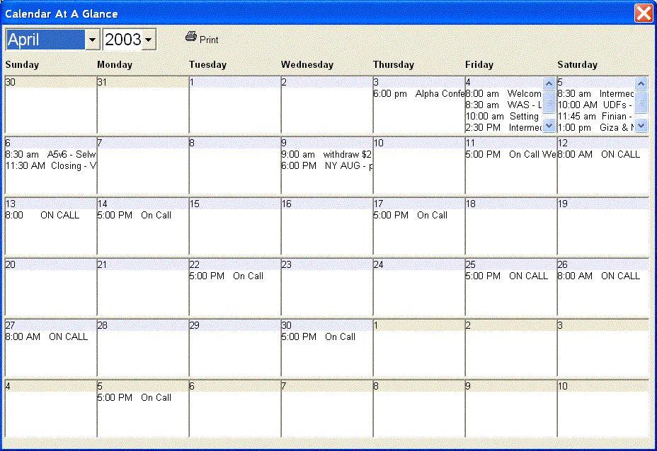 Calendar At A Glance Calendar Template 2020