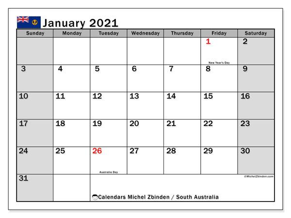 Calendar January 2021 South Australia Michel Zbinden En