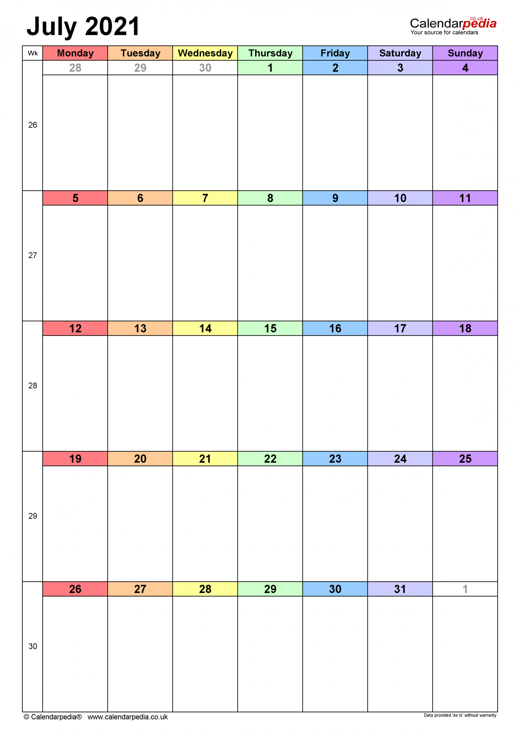 Calendar July 2021 Uk With Excel Word And Pdf Templates 1