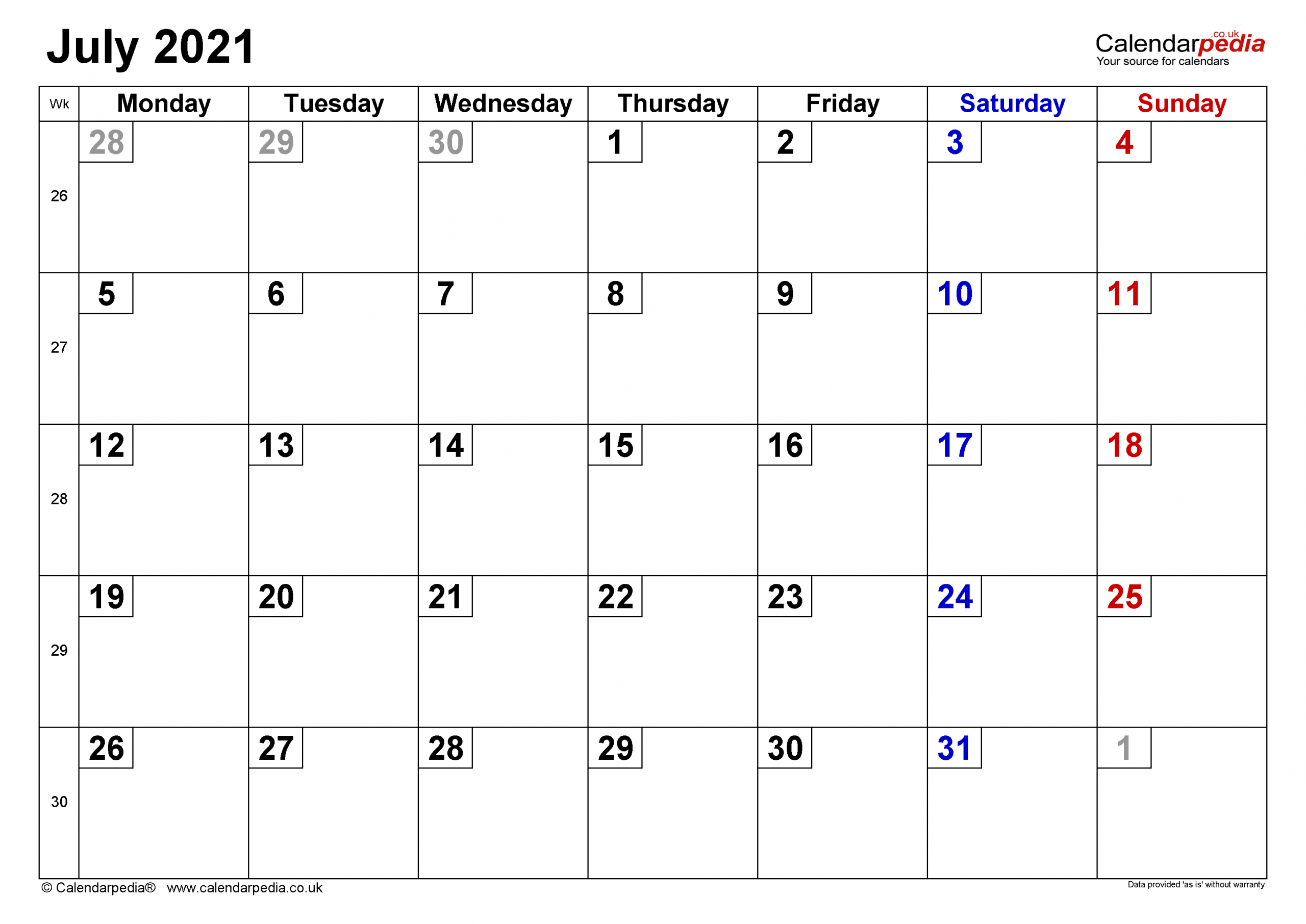 Calendar July 2021 Uk With Excel Word And Pdf Templates