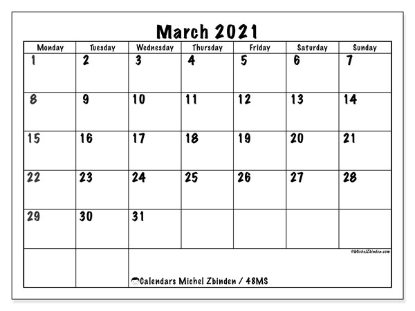 Calendar March 2021 48ms Michel Zbinden En