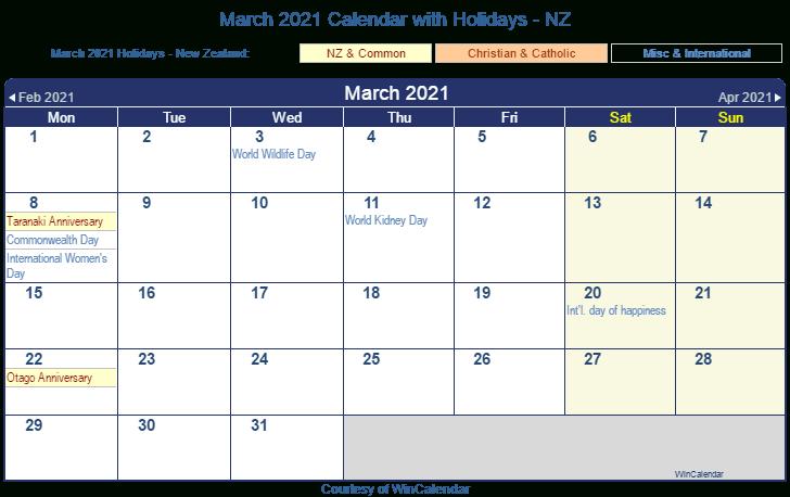 Calendar March 2021 Nz Printable March