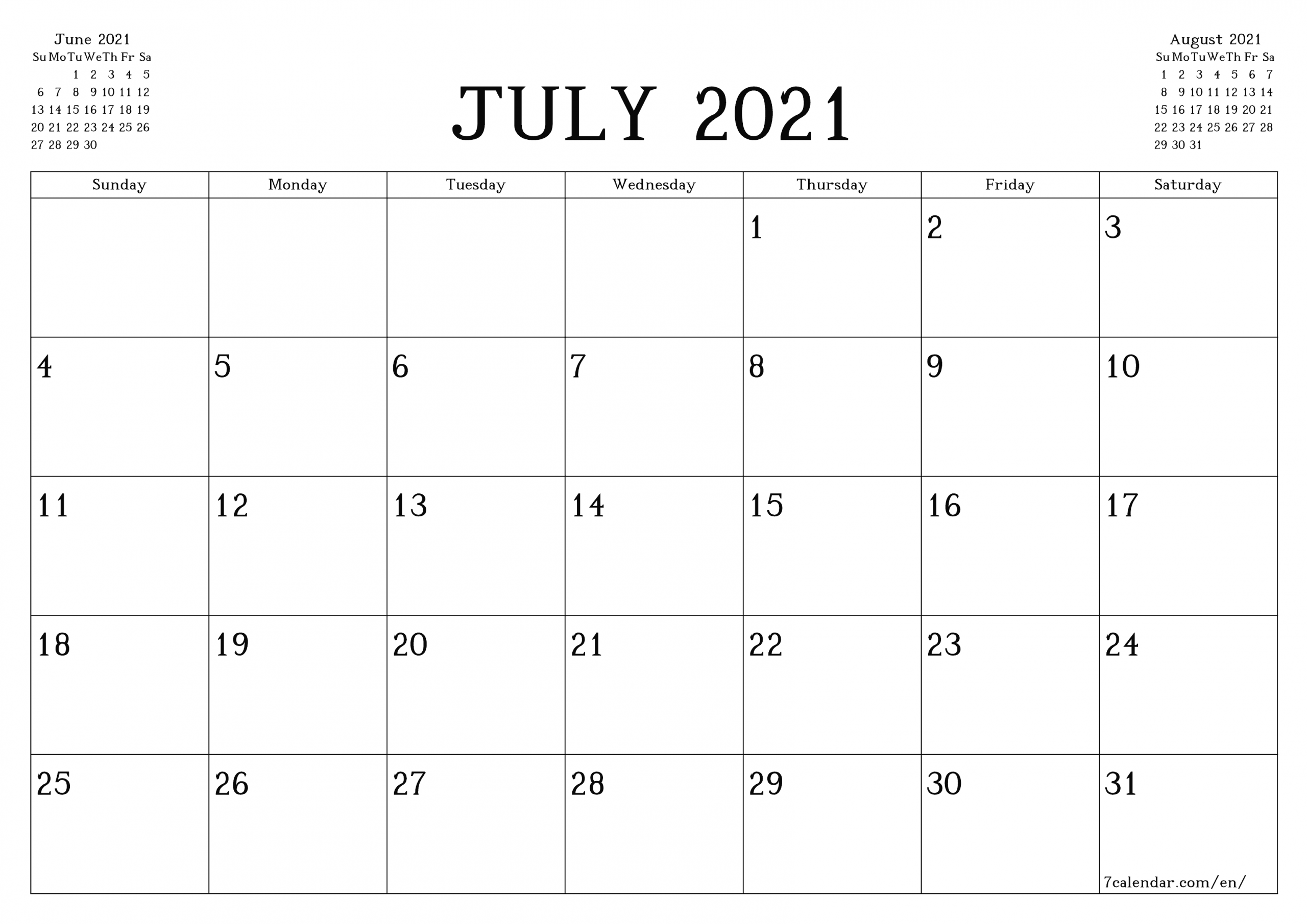 Calendar Month Of July 2021 Printable March