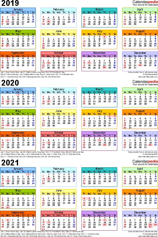 Calendar Multi Year 2016 2019 2021 2021 Calendar