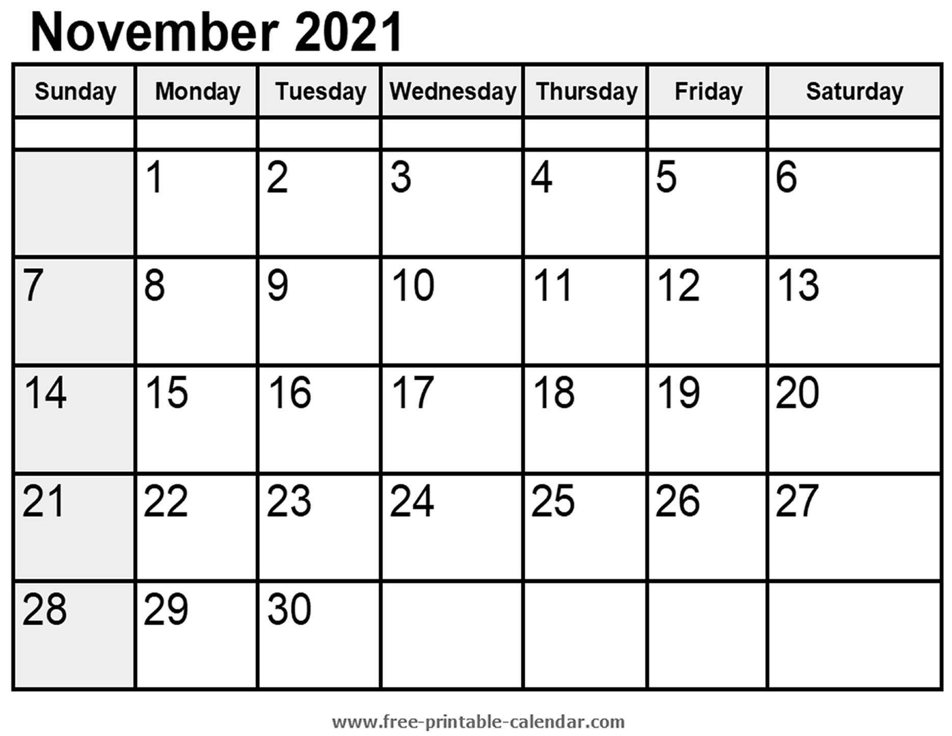 Calendar November 2021 Free Printable Calendar