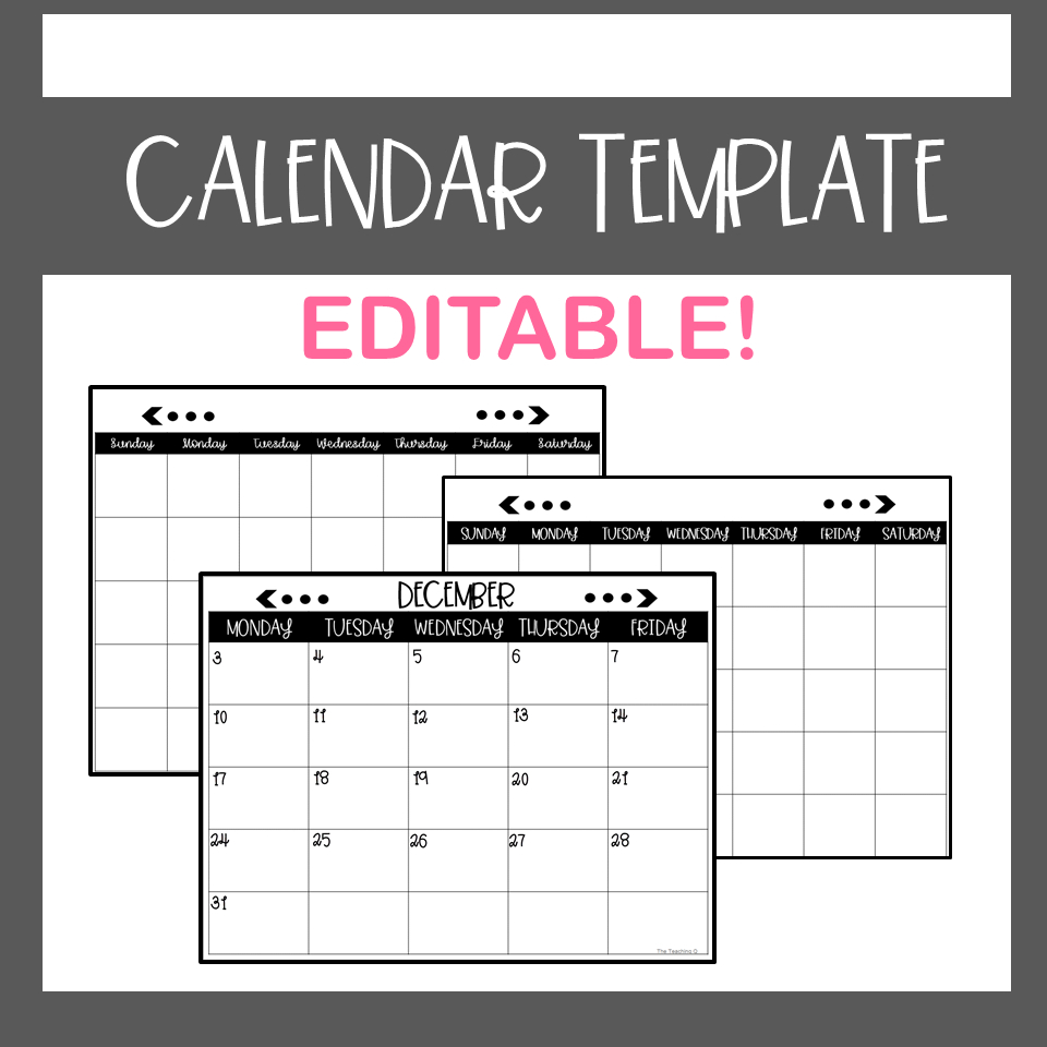 Calendar Template Editable With Images Calendar