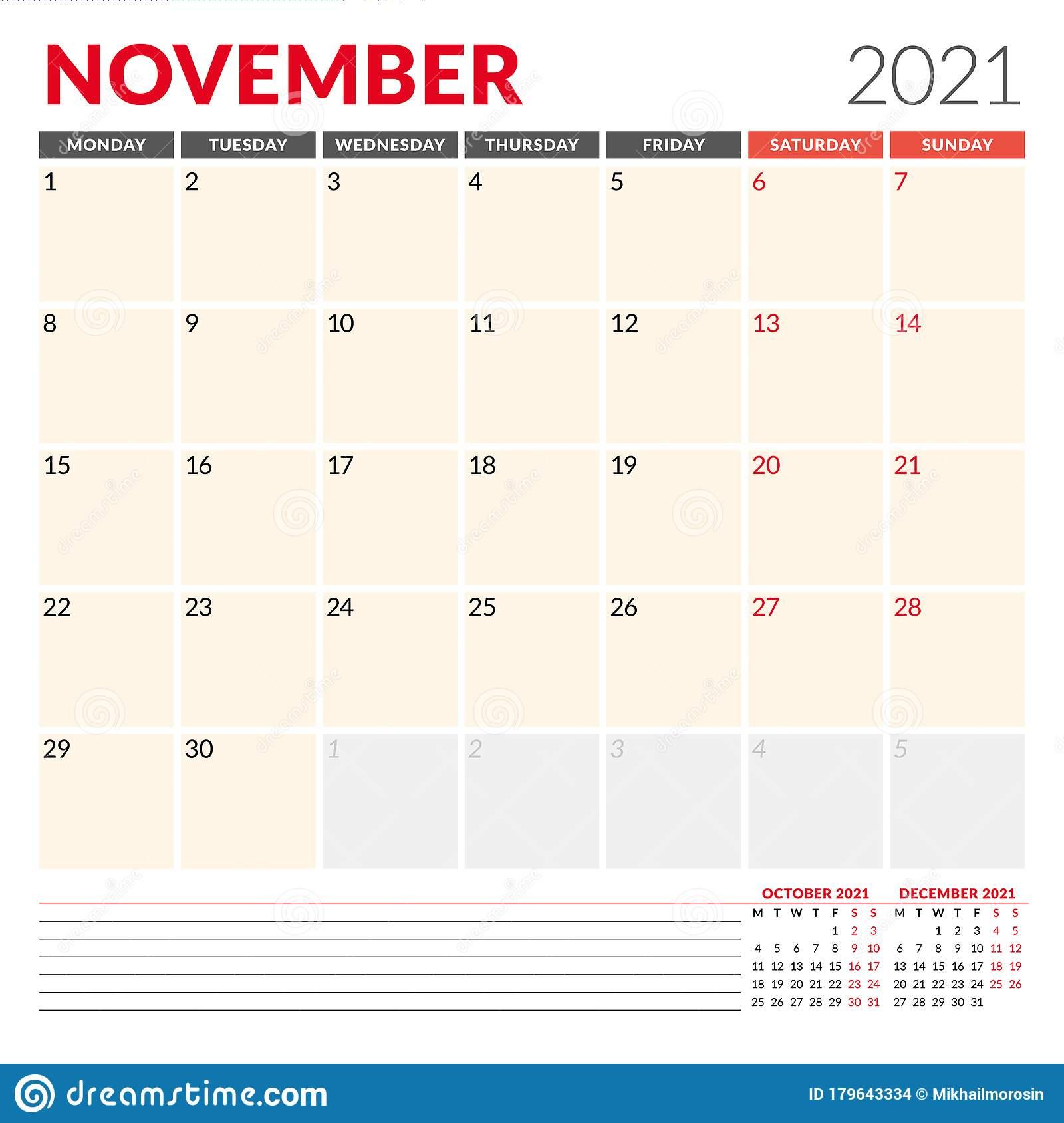 Calendar Template For November 2021 Business Monthly