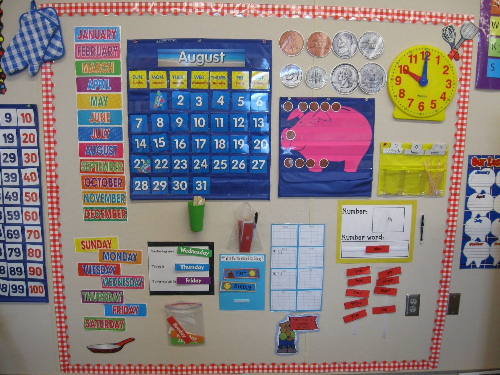 calendar wall with student led activites kindergarten