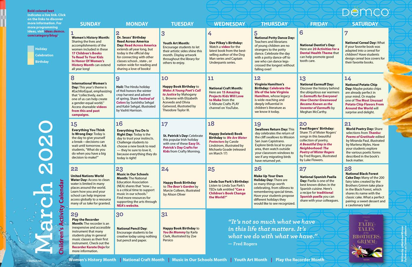 Childrens Programming Activity Calendar March 2020