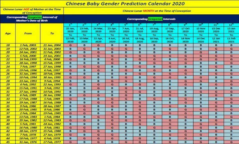 Chinese Birth Calendar 2020 Template In 2020 Gender