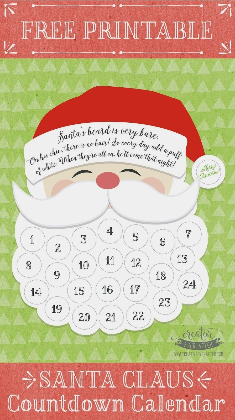 Christmas Countdown Calendar 100 Days Printable Blank