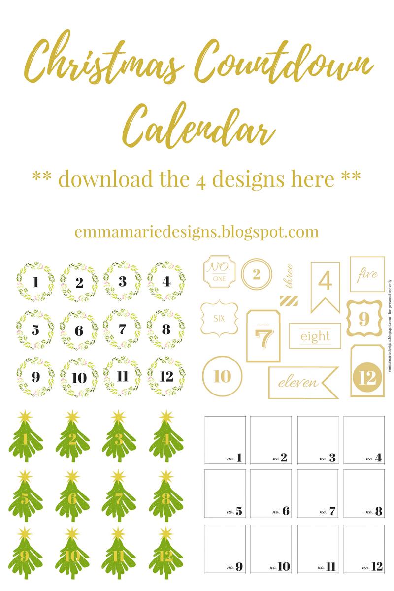 Christmas Countdown Calendar Emma Marie Designs