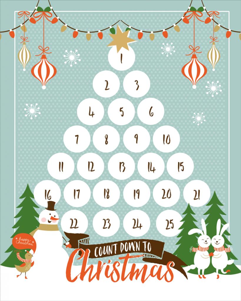 Christmas Countdown Planning Calendar Calendar Template 2020