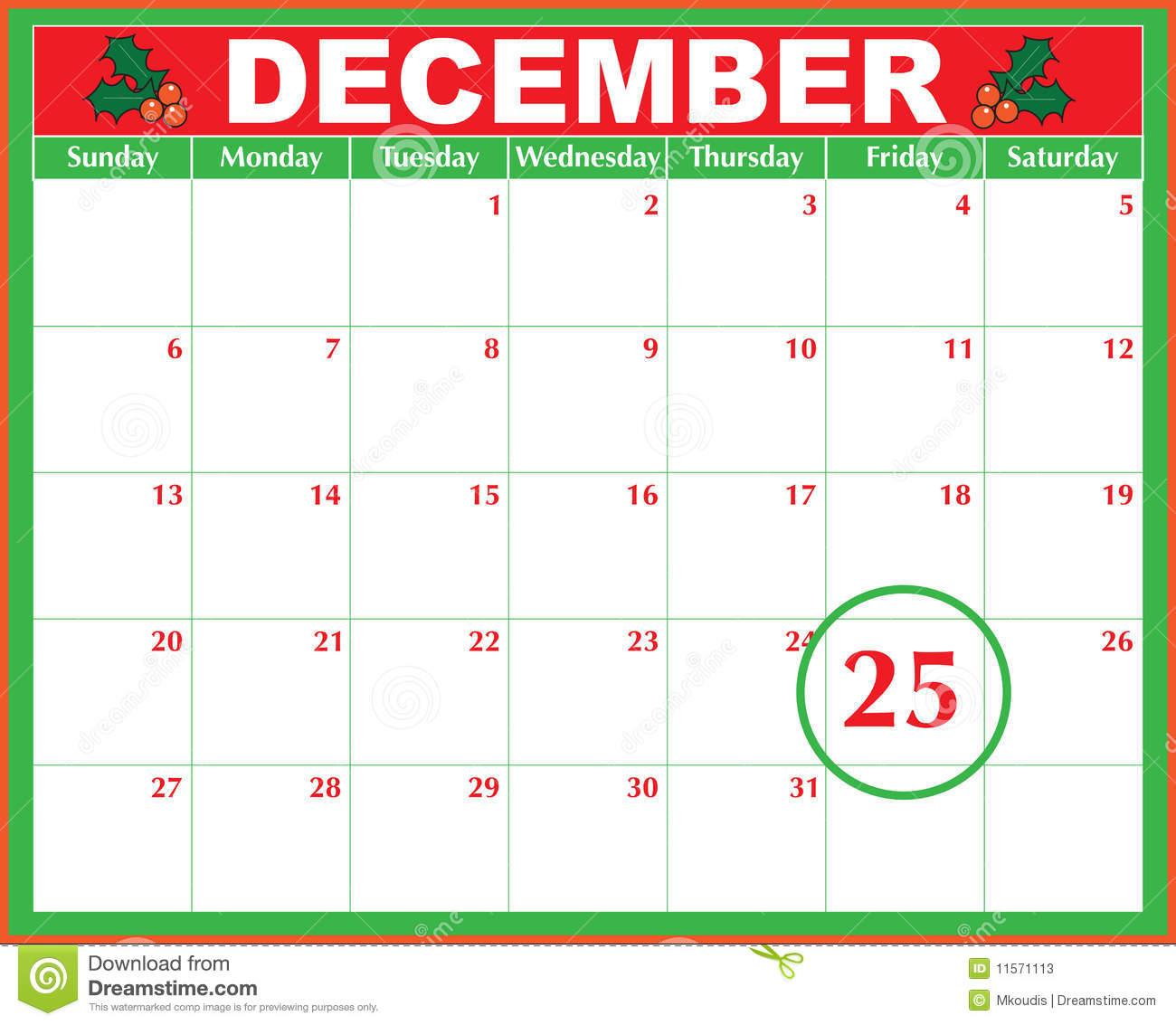 Christmas Day Calendar Stock Vector Illustration Of