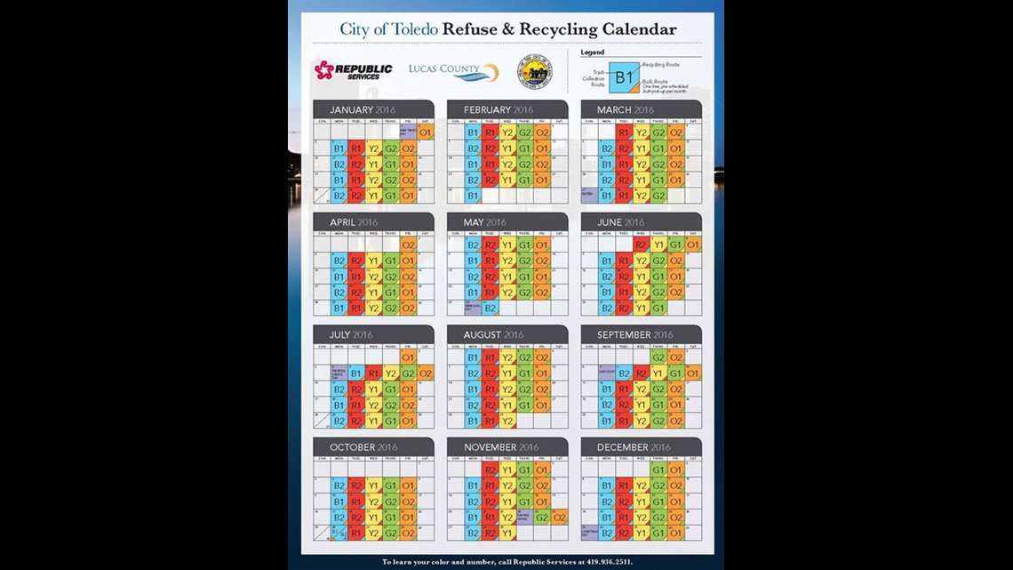 City Of Toledo Releases 2016 Refuse And Recycling Calender 1