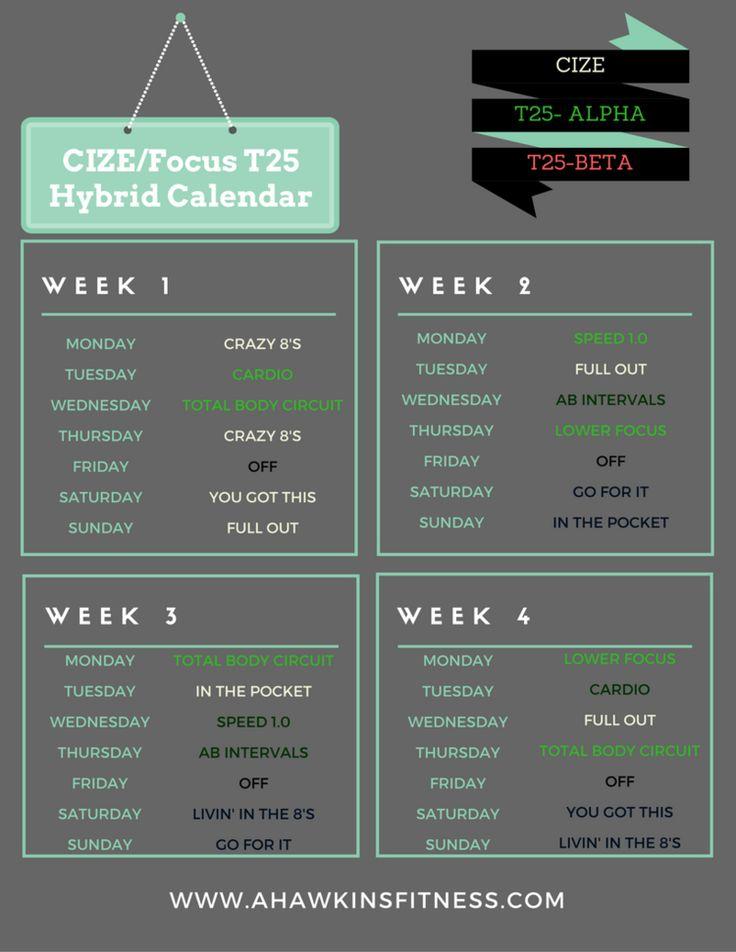 Cize Focus T25 Hybrid Calendar Ahawkins Fitness Cize
