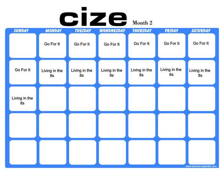 Cize Workout Calendar With Images Workout Calendar