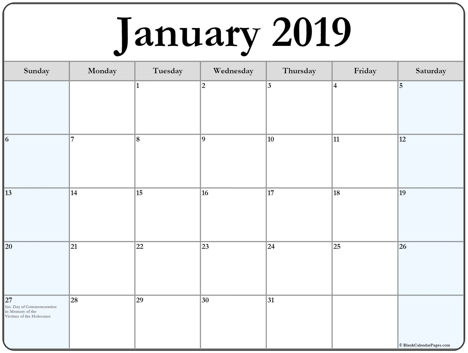Collection Of January 2019 Calendars With Holidays