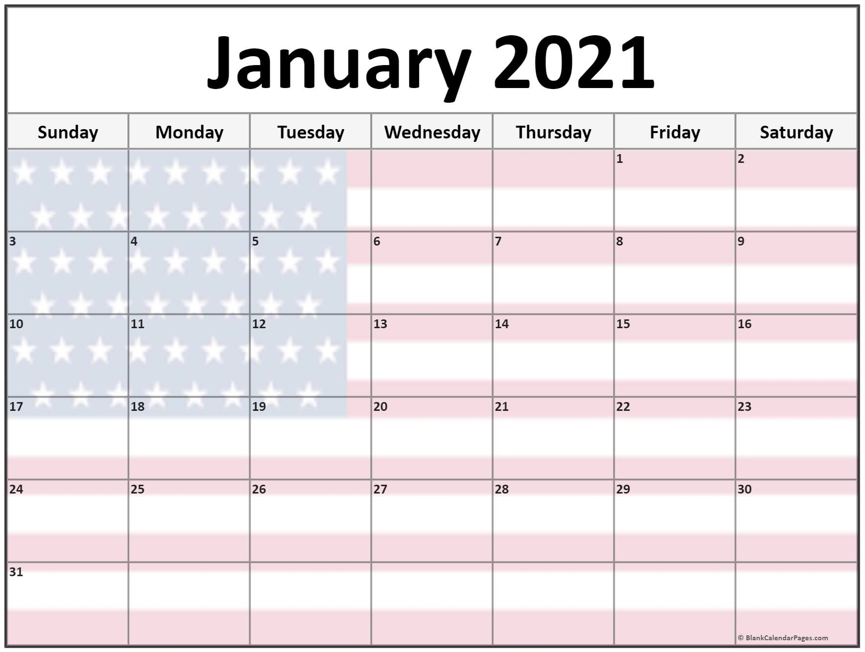 Collection Of January 2021 Photo Calendars With Image Filters 2
