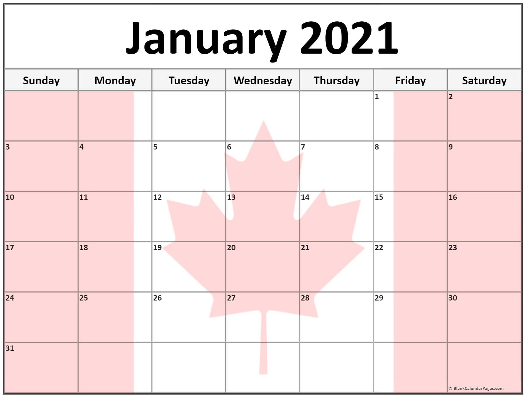 Collection Of January 2021 Photo Calendars With Image Filters
