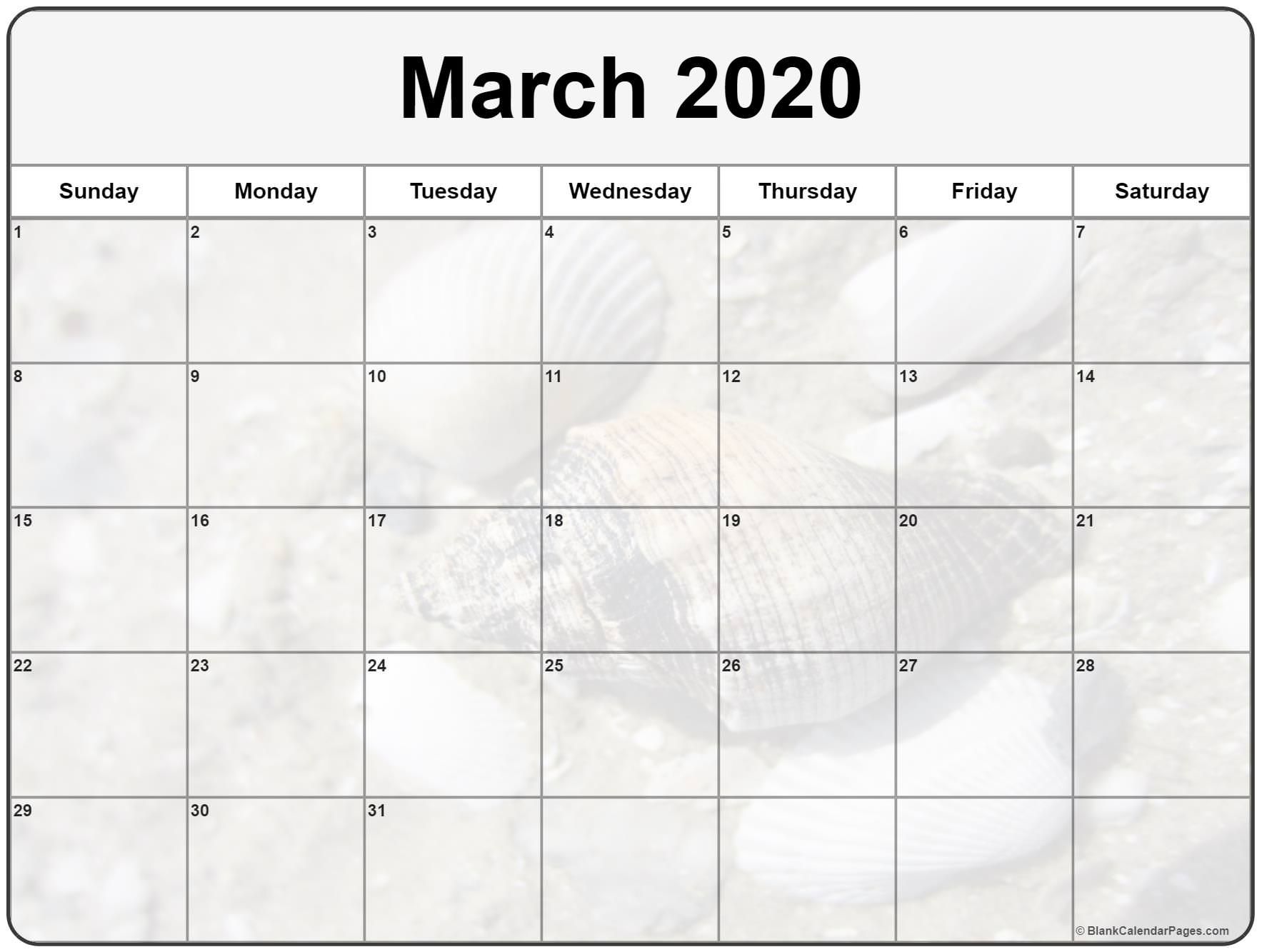 Collection Of March 2020 Photo Calendars With Image Filters