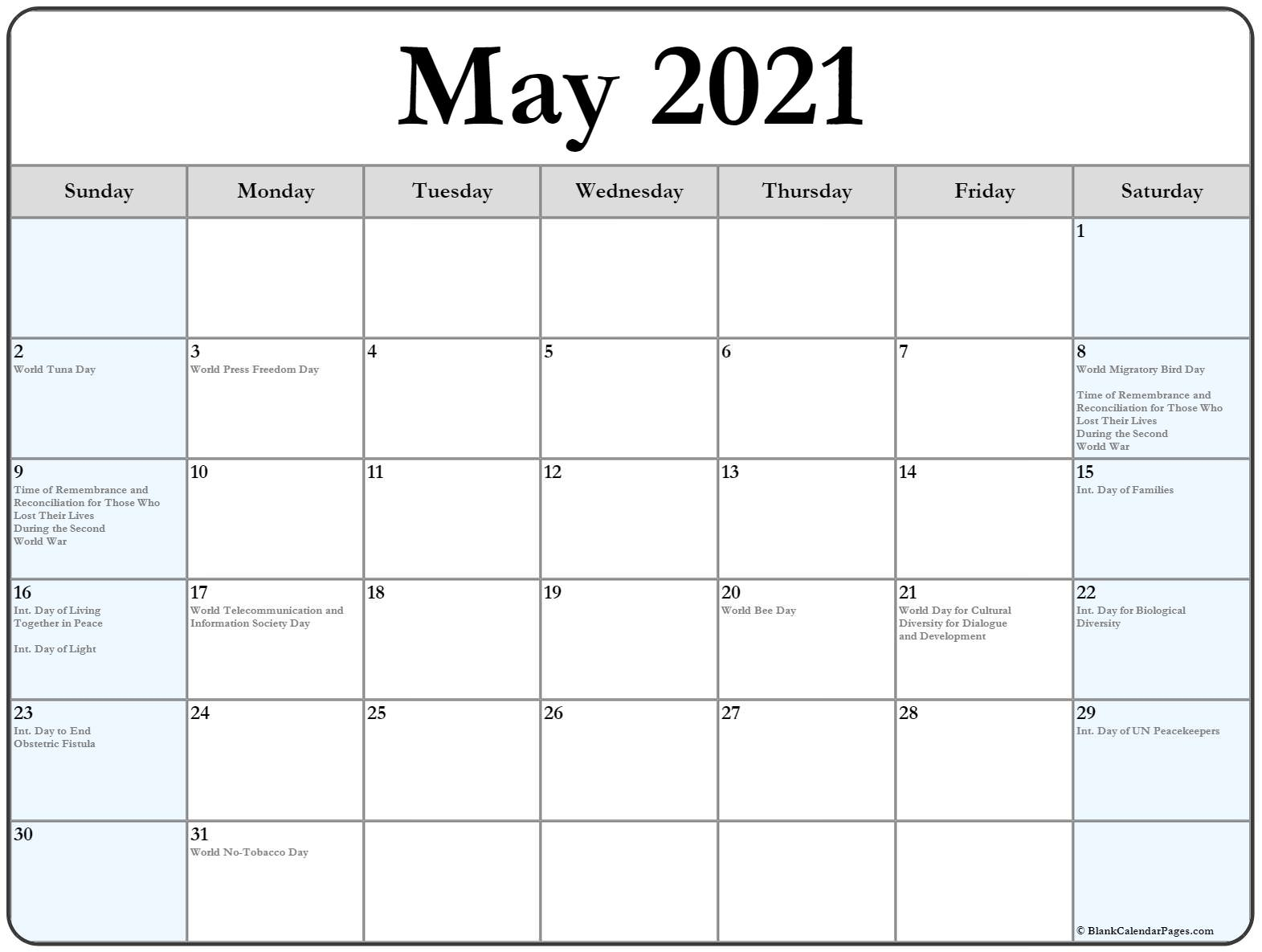 collection of may 2021 calendars with holidays - Calendar ...