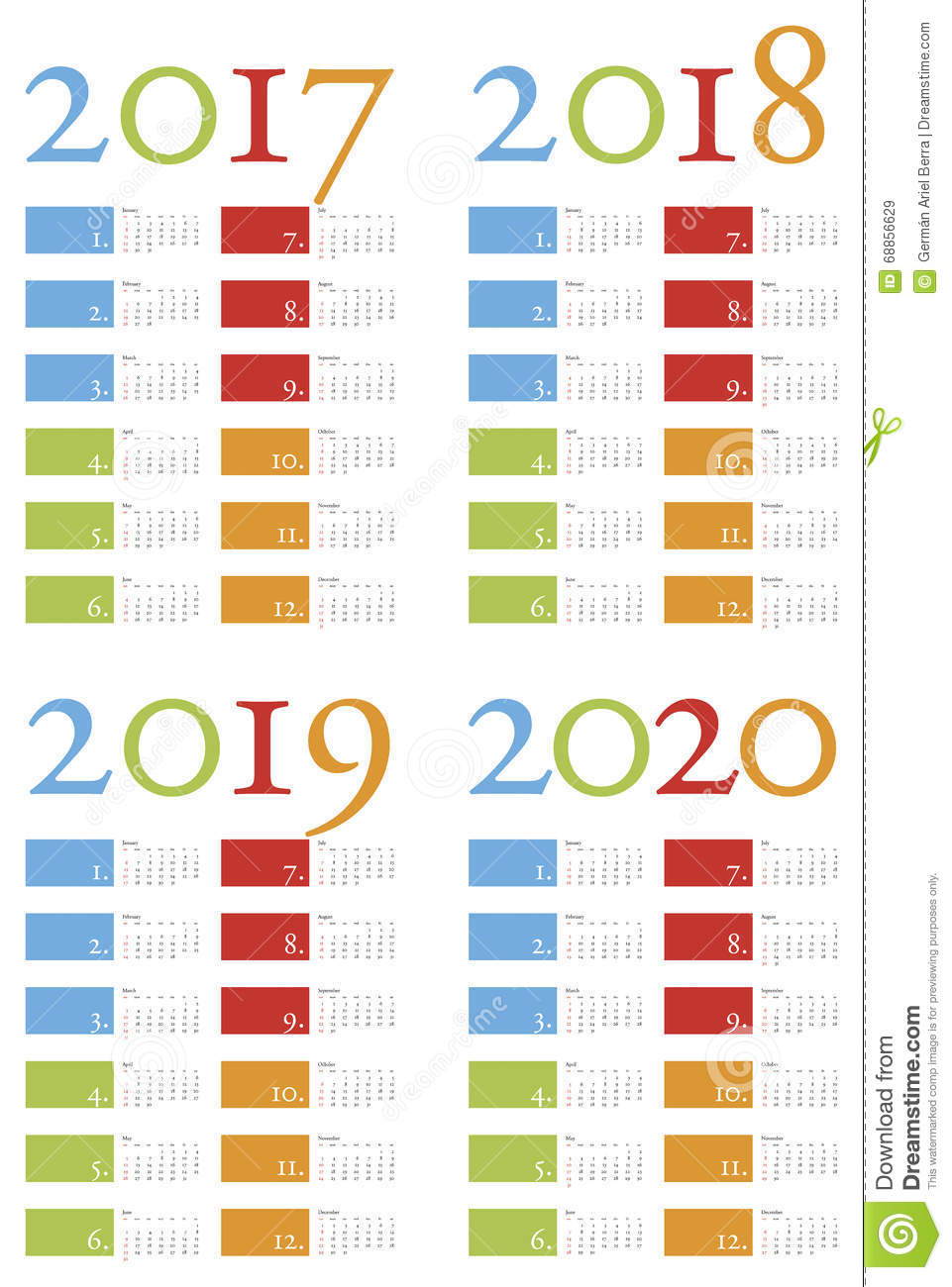 Colorful And Elegant Calendar For Years 2017 2018 2019