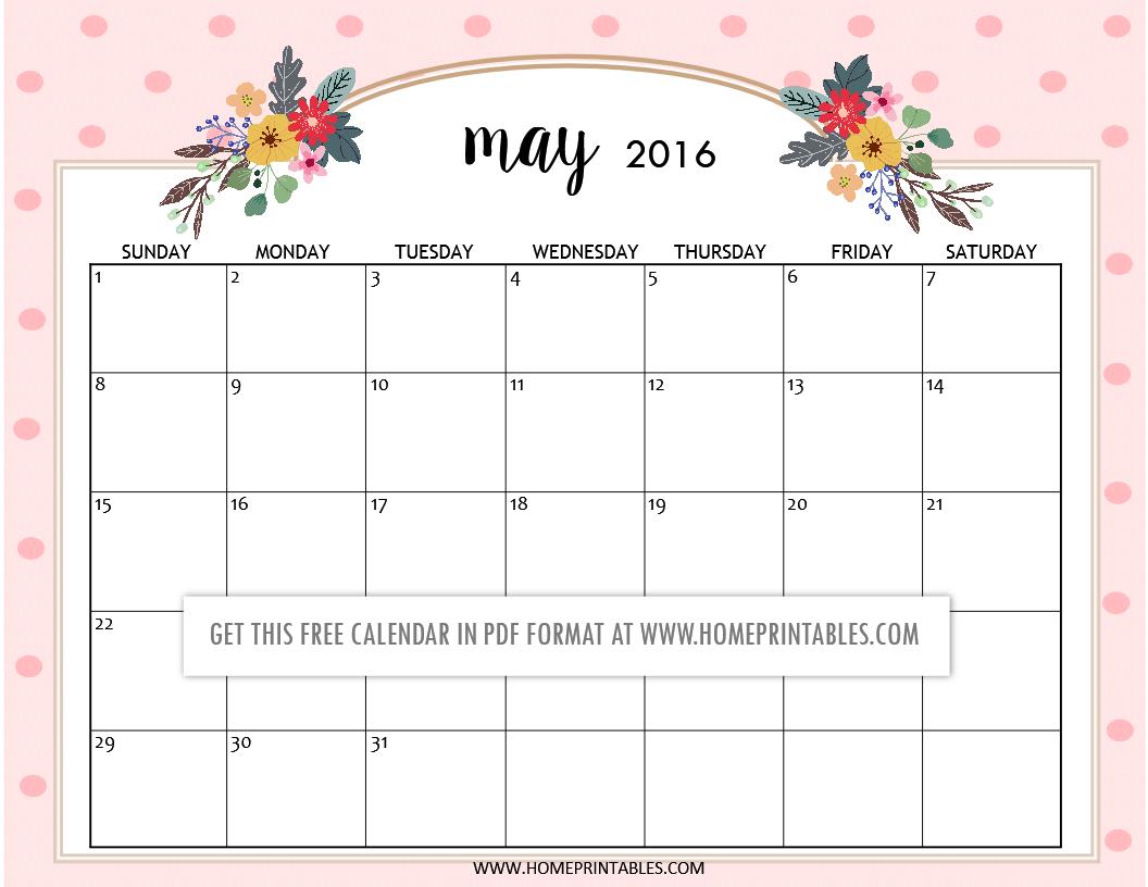Cute Free Printable 2016 Calendars Home Printables