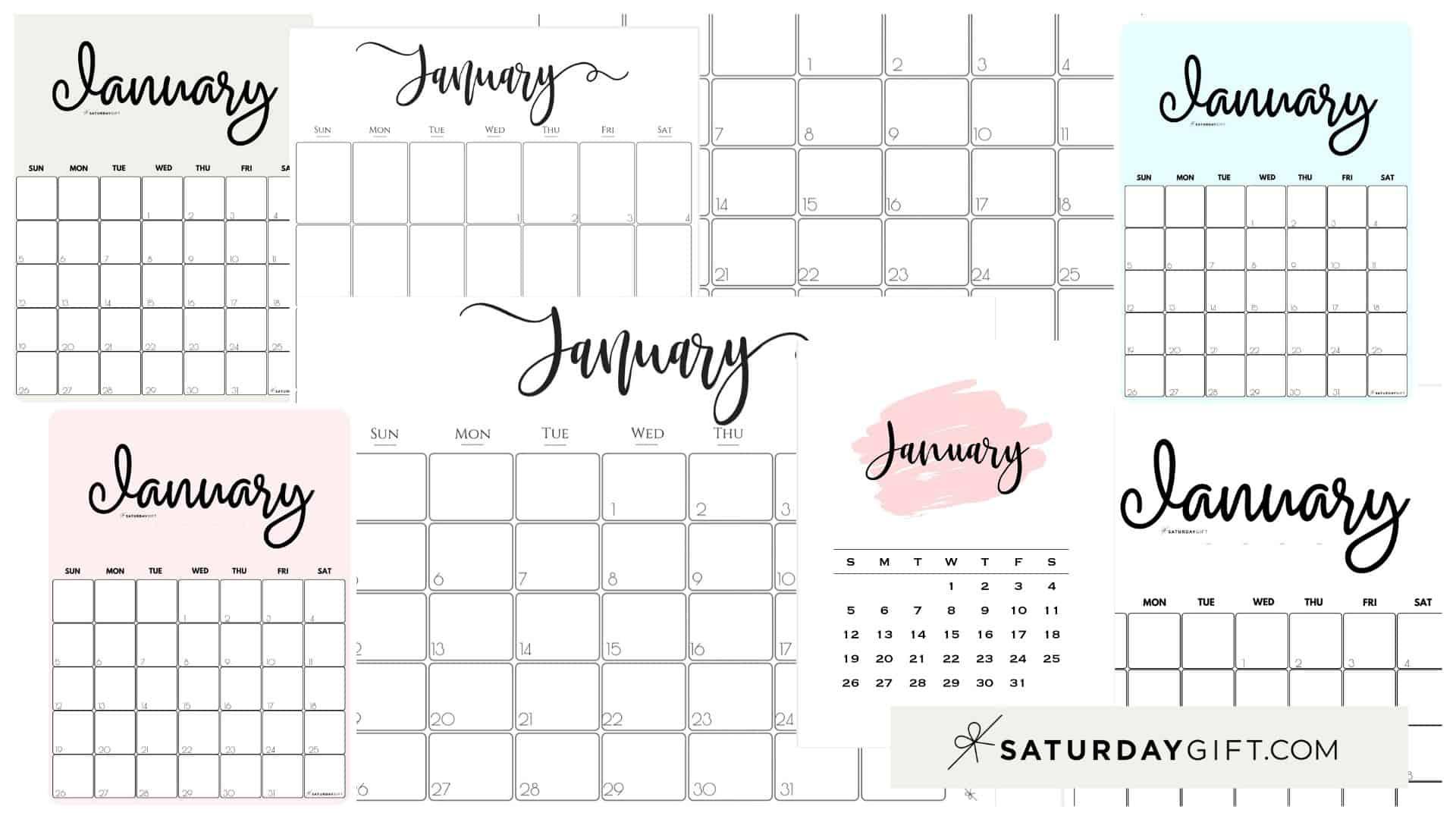 Cute Free Printable January 2021 Calendar Saturdaygift 1