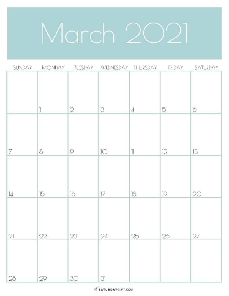 Cute Free Printable March 2021 Calendar Saturdaygift 1