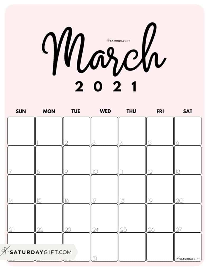 Cute Free Printable March 2021 Calendar Saturdaygift 3