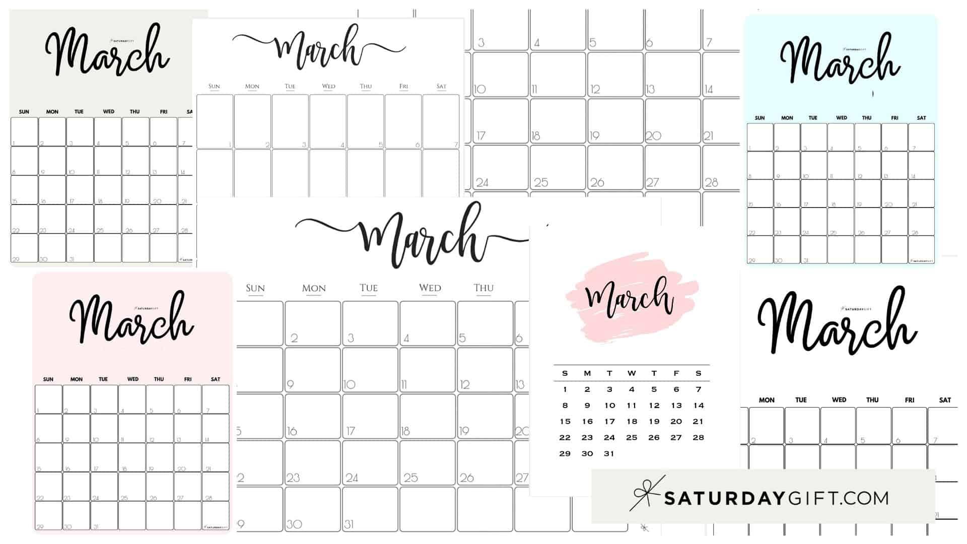 Cute Free Printable March 2021 Calendar Saturdaygift 6
