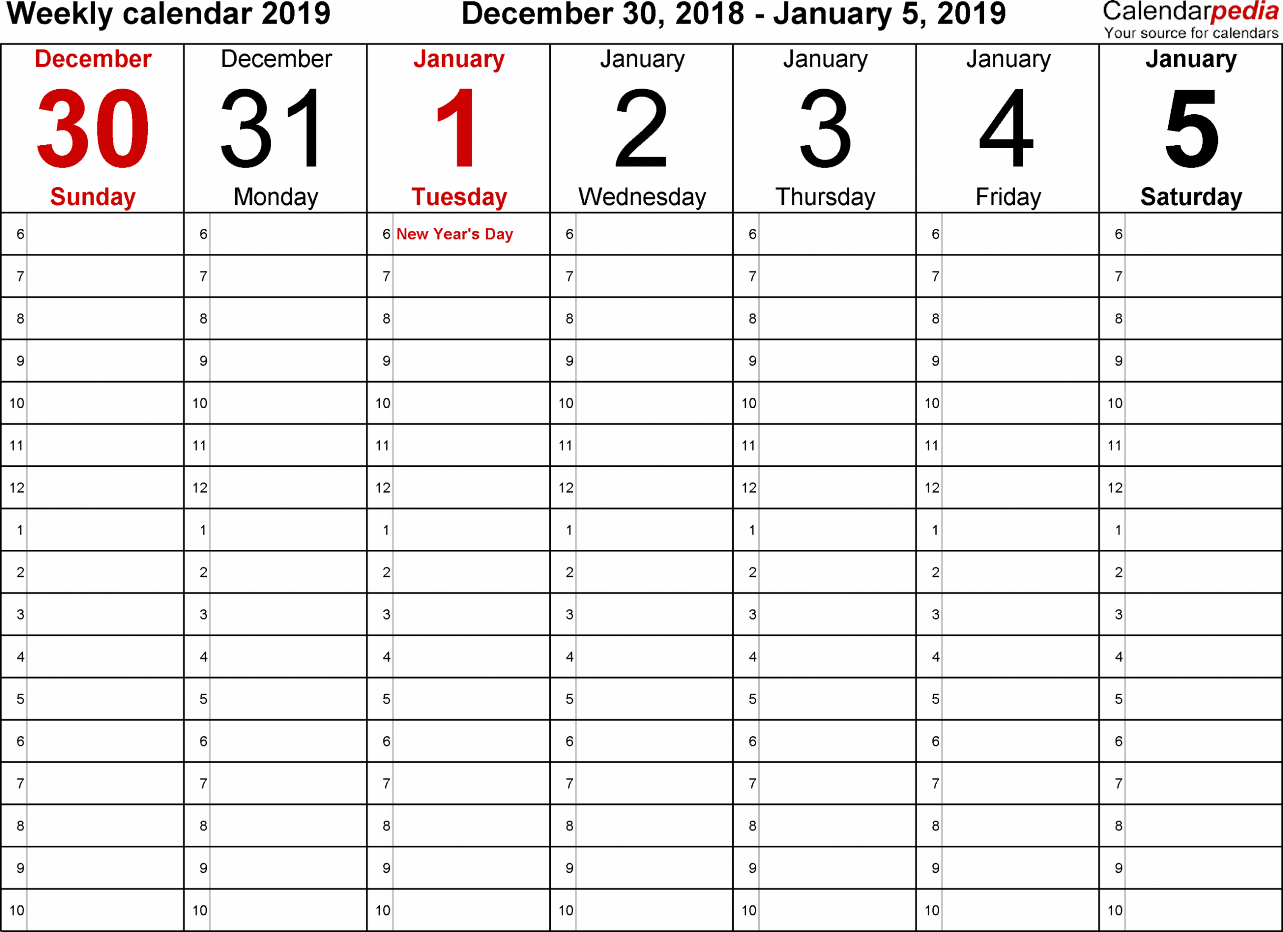 Daily Calendar 2019 Free Daily Calendar Printable 2019