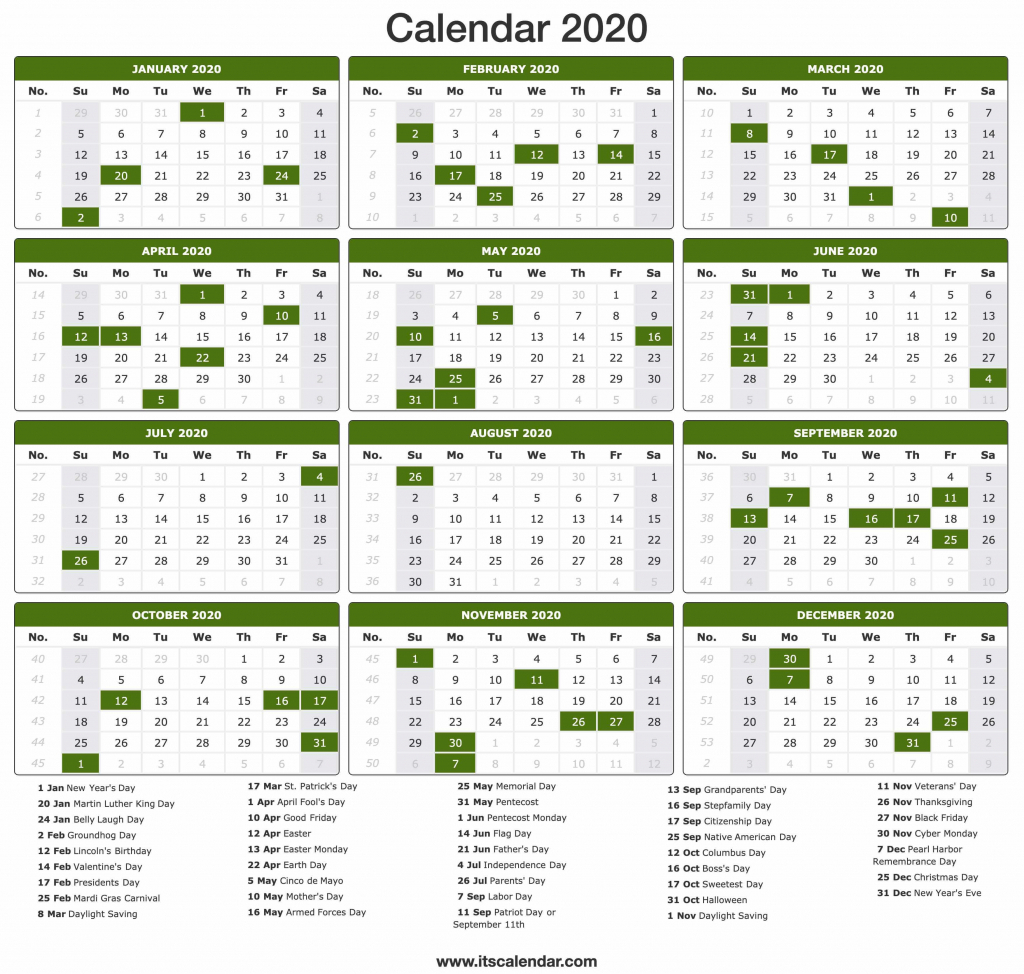 Day Count Calendar 2020 Calendar Template 2020