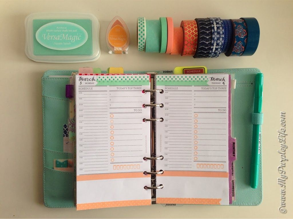 Day Per Page Layout In Personal Sized Organiser Done In