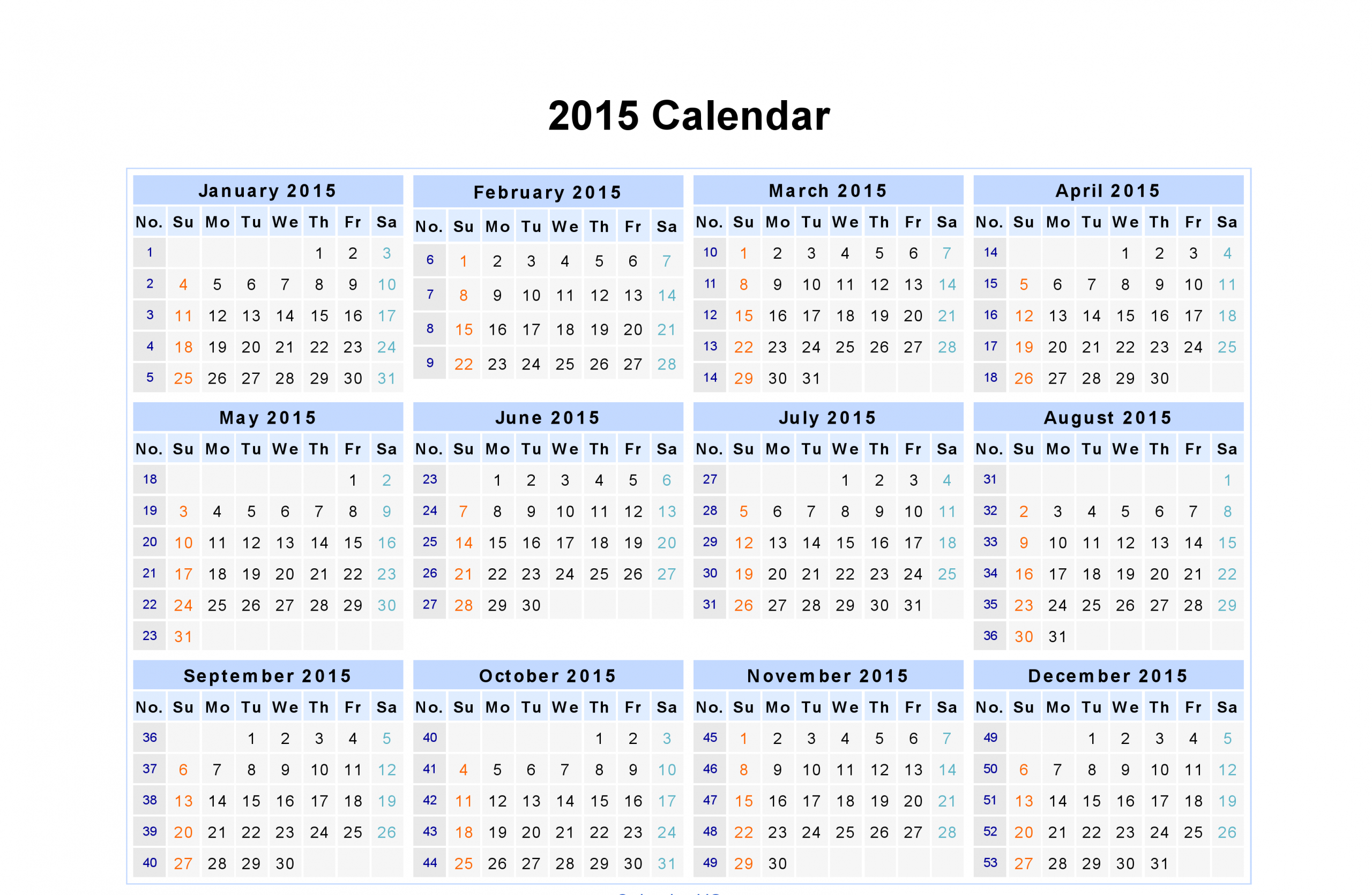 Day Weekly Monthly Calendar Of Year 2015
