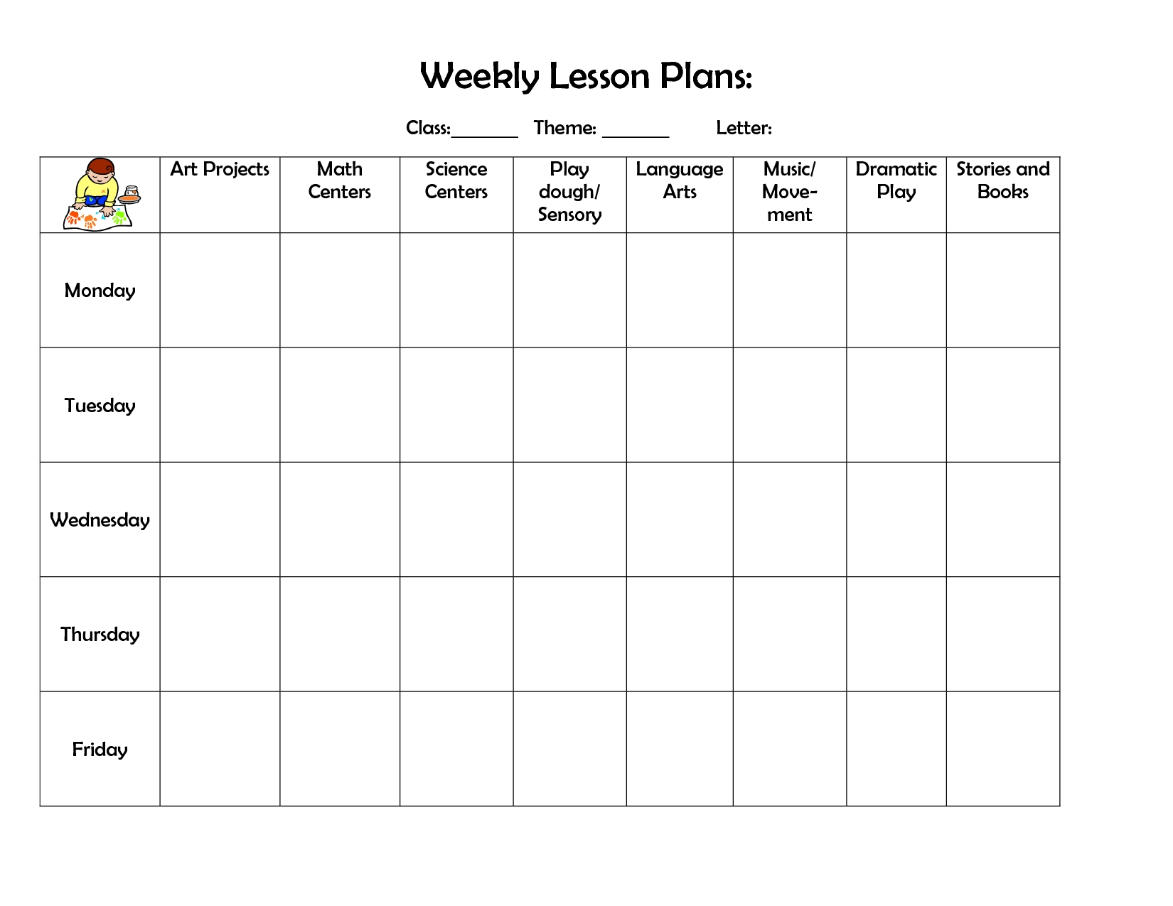 Daycare Weekly Lesson Plan Template Calendar Template